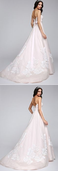 "A-line wedding dress with a brush train <3 How do like it more with a sash or without it? Click for more details and remember to use coupon code ""PTL20531"" for an extra discount when you spend $100+"