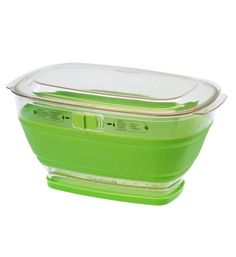 Collapsible Storage Container and Colander - keeps foods fresh while providing aeration via unique sliders on the container. The top is clear for easy viewing and the bottom comes out for easy drainage. When not in use, collapse flat for compact storage in your cupboard.