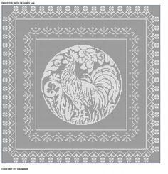 Free Filet Crochet Doily Patterns | 546 Rooster with Veggies Filet Crochet Bedspread Tablecloth Pattern ...