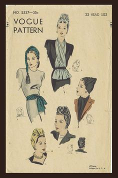 Pattern Peddler  5337 Vintage 1940 s VOGUE SEXY HOT TURBAN HATS Cap  amp   SCARF Accessory d030ca884bec