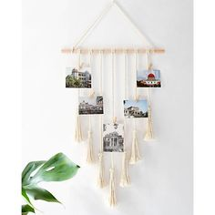 Mkono Hanging Photo Display Macrame Wall Pictures Organizer Home Decor With 25 Wood Clips - Www.wallandroom.com