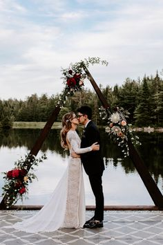 Style your geometric wedding arch with eco-friendly floral bouquets including flowers like proteas, eucalyptus and other low water blooms. Check out this Sustainable Boho Vegan Wedding at Summer Solstice to see more. Wedding Ceremony Ideas, Dock Wedding, Outdoor Ceremony, Wedding Events, Wedding Reception, Wedding Aisles, Wedding Canopy, Wedding Backdrops, Wedding Ceremonies