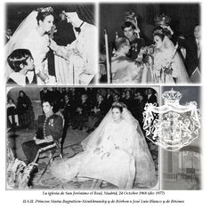 Princess Maria Bagration-Moukhransky y de Borbon wed Jose Luis Blanco y de Briones on 24 October 1968. The bride wore a diamond floral tiara, though the image is too small to give much detail of it. They had a daughter, Mercedes Tamara, before their marriage was annuled in 1977