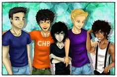 Fank Zhang, Percy Jackson, Nico di Angelo, Jason Grace, and Leo Valdez ;) Heroes of Olympus boys!!!!!! :D