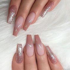 Acrylic Nail Designs Glitter, Nail Art Designs, Long Nail Designs, Ombre Nail Designs, Glitter Nails, Gel Nails, Nails Design, Nail Polish, Coffin Nails Long