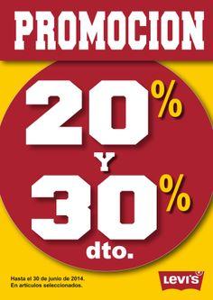 LEVI'S ¡¡¡Aprovecha en nuestras tiendas LEVI'S  el -20 y -30% de descuento!!! :D *Hasta el  30 de junio de 2014 en artículos seleccionados.