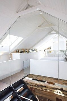 Not a cape cod, but I like the concept of embracing the attic in this way, opening it up to the main level. Main level benefits from the extra light. #attic #loft