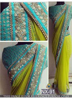 New Neon Green Nylon Mono Net Designer #Saree#beautiful #new_arrival #Latest