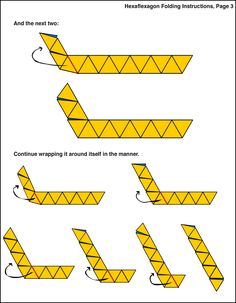 Shows various flexes on a 6 sided rhombus hexaflexagon ...