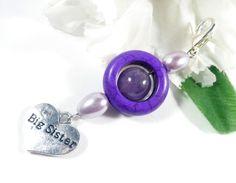 Big Sister Gift Zipper Pull Purple Keychain Beaded Keychain