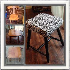 repurpose old chair into a stool Diy Garden Furniture, Refurbished Furniture, Repurposed Furniture, Furniture Projects, Furniture Makeover, Stool Makeover, Paint Furniture, Old Chairs, Metal Chairs