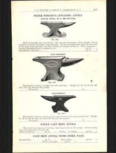 1910 AD Blacksmiths' Anvils Peter Wright Hay Burden Columbian Champion Blower |