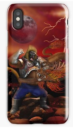 Giant Gorilla vs Dragon iPhone Cases & Skins #iphonecase #iphonex #case #painting #digital #oil #popart #streetart #cartoons #comic #vegeta #sungoku #songohan #gorilla  #ape #shenron #supersaiyan #saiyan #sungokong #dragon #cobrakai #chimpanzee