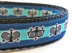 Hipster Raccoon - Dog Collar / Adjustable / Handmade / Pet Accessories / Pet Lover / Gift Idea / Dog Collars / Pets / Nerd / Glasses by StinkyandSweetPea on Etsy