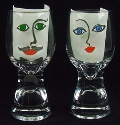 Vintage Drinking Beer Glasses Tumblers With Modern Abstract Faces Man Woman Mustache Barware Bar Ware by RetroCentsStudio on Etsy