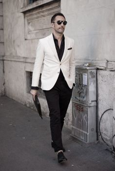 Threw out the day I want my love to wear something simple yet stylish, a White blazer and black pants. No tie. I can already see his beautiful smile at the thought of me fawning over him in such an outfit #myreviewsnow