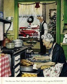 My mom used to collect Norman Rockwell stuff.doesn't this make you pine for an old fashioned Christmas? Christmas Scenes, Noel Christmas, Vintage Christmas Cards, Retro Christmas, Vintage Holiday, Christmas Pictures, Vintage Cards, Xmas, Christmas Kitchen