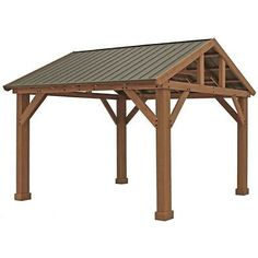 Wood Gazebo with Aluminum Roof by Yardistry. Expand your outdoor living space with this beautiful Wood Gazebo with Aluminum Roof by Yardistry. The stunning design features a Montana bronze aluminum roof, 6 in. Patio Pergola, Backyard Pavilion, Outdoor Pavilion, Backyard Gazebo, Pergola With Roof, Patio Roof, Outdoor Gazebos, Small Pergola, Modern Pergola