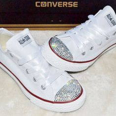 Womens White Converse, Swarovski Wedding Converse, Bling Wedding Shoes | Mommiez_Kreationz - Clothing on ArtFire