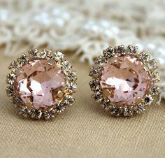Crystal stud Petite vintage pink earring  14k plated by iloniti, $41.00