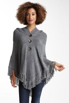 Olivia M Attached Hood Sweater Poncho