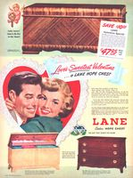Lane Hope Chest 2295 1949 Ad. American Walnut Veneer. Valentine Special! 2274: Exterior riff cut Oak veneer. Finished in Limed Oak. 2221: 18...