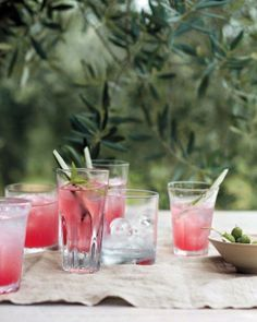 Watermelon-Cucumber Coolers ~ To spike these coolers, stir two ounces of Aperol, a bittersweet Italian aperitif, into each eight-ounce serving Cocktails, Non Alcoholic Drinks, Cocktail Drinks, Cocktail Recipes, Beverages, Drink Recipes, Party Drinks, Watermelon Cocktail, Italian Menu