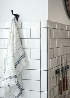 gorge subway tile with dark grout via Manhattan Nest White Beveled Subway Tile, White Subway Tile Bathroom, Subway Tiles, Concrete Bathroom, White Bathrooms, Luxury Bathrooms, Master Bathrooms, Dream Bathrooms, Small Bathroom