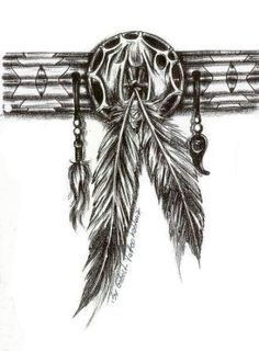 Native American Feather Band Tattoo Sketch
