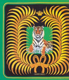 I love the tiger and the colors on this Hermes scarves.
