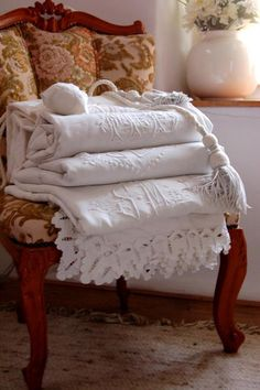 old lovely linens - love the chair too