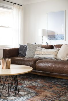 Guide to Buying Living Room Brown Leather Sofa Living Room Decor, Dark Brown Leather Sofa, Dark Brown Sofa Living Room, Living Room Sectional, Rugs In Living Room, Masculine Living Rooms, Living Room Inspiration, Decoration, Room Tour