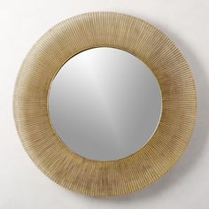 Shop Sunburst Round Wall Mirror Rays of antique brass radiate from round mirror, adding texture and warmth to any space. We especially love it as a bright accent in the living room or foyer. Large Round Mirror, Round Wall Mirror, Mirror Set, Round Mirrors, Wall Mirrors, Hallway Mirror, Mirror Glass, Mirror Ideas, Arch Mirror