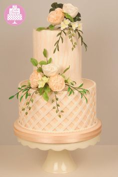 Peach and Ivory wedding cake by Jdcakedesign