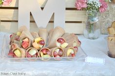 "Fruit-in-a-Cone - great food for a kids party + makes a great ""cornucopia"" for a fall party!"