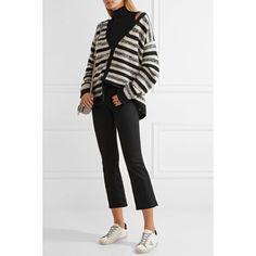 The Elder Statesman Striped cashmere cardigan (58 730 UAH) via Polyvore featuring tops, cardigans, stripe cardigan, black and white striped tops, stripe top, striped cardigan и black and white stripe cardigan