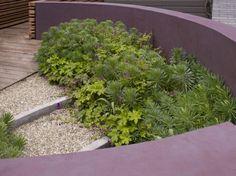 Muret de jardin déco en lila foncé et plantes vivaces
