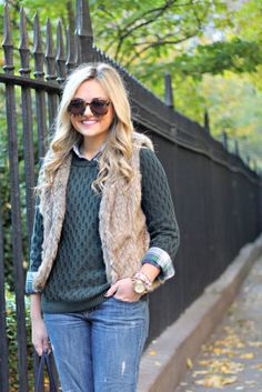 Green Honeycomb Sweater from @Donna Maywald Navy with Fur Vest #LayeredONstyle