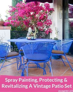 Spray Painting, Protecting & Revitalizing A Vintage Patio Set. This is all about spray painting, protecting & revitalizing my beloved patio set circa See the materials used, the steps taken & get spray painting tips. Painting Patio Furniture, Vintage Patio Furniture, Patio Furniture Makeover, Metal Patio Furniture, Diy Furniture Projects, Outdoor Furniture Sets, Outdoor Decor, Furniture Plans, Furniture Design