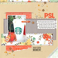 """Created this page using the Scraptastic Club October 2014 """"Heart It Races"""" kit and add-on.   Details and close-ups on my blog: http://nancyburke.typepad.com/scraps_and_ink/2014/10/psl-pumpkin-spice-latte.html"""