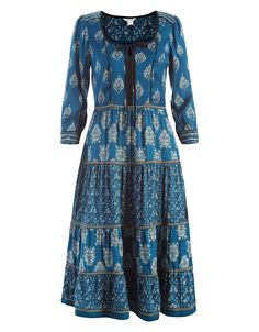 Pollyann Printed Dress | Blue | Monsoon