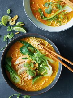 Cozy and spicy. Is ramen recipe infused with coconut milk and curry is sure to warm you up during winter. Bok Choy Recipes, Ramen Recipes, Healthy Chicken Recipes, Asian Recipes, Cooking Recipes, Healthy Sweet Snacks, Nutritious Snacks, Healthy Food, Recipes