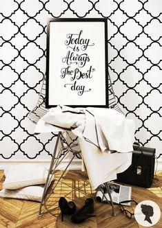 Schälen und Stick Vierpass Muster abnehmbare Wallpaper-D211