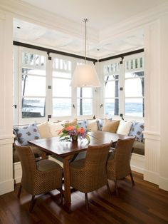 breakfast nook.  Luke = yes I like this with the 2 sided bench.  i don't like 3 sided bench as it feels like a diner.  This is perfect.  Good space we can talk about our day and have family time when the kids get older.  I like the 6 person table too...in case we have more kids.