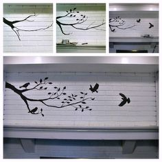 Birds and Branch Painted Fireplace.