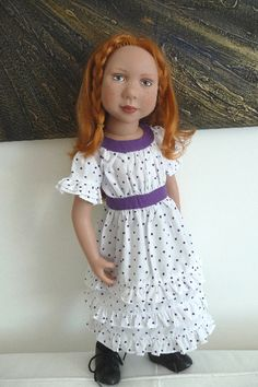 """Jessie (19"""") Zwergnase Junior (not sure if this is her Zwergnase name) wearing a white frock with purple dots available from My Doll Best Friend."""