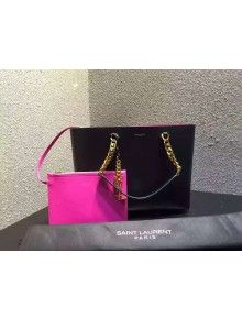 Saint Laurent 372090  Tote Bag In Black/Rosy Leather