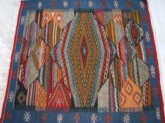 Teppich, Designerteppich Auge des Baraka, Bohemian Kelim Teppich Quadratisch, Boho Teppich Blau, Orientteppich, Teppich Wohnzimmer