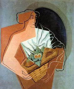 Woman With Basket -  Artist: Juan Gris  Completion Date: 1927  Style: Cubism  Genre: portrait  Technique: oil  Material: canvas  Gallery: Private Collection