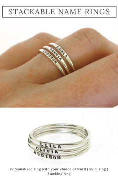 These dainty stacking rings are perfect for personalizing with your children's names, dates, or a meaning word of your choice. #affiliate